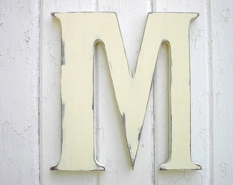 Wooden Letters Distressed 12 inch M Wood Antique White Shabby chic Kids wall art Initial Alphabet signs Rustic Cabin Cottage Decor