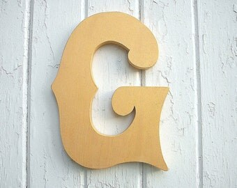 Wooden letters G Metallic Inca Gold Initial Wedding Decor Sign Rustic Shabby chic Nursery Kids Room