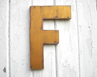 "Shabby chic Wooden Letter ""F"" Gold initial Nursery Decor Kids Wall Art Big letters"