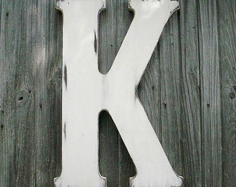 "Wooden Letters Wedding Guestbook 24"" Large Letter K White Shabby chic Wooden Wall Hanging Rustic Cabin Cottage decor"