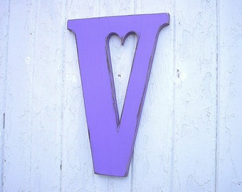 Wooden Letters Decorative V 18 inch Heart cutout Grape Jam Large Letter Gifts Holiday wall art Initials Shabby chic