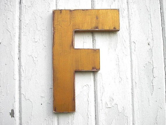 "Shabby chic Wooden Letter ""F"" Gold initial Nursery Decor Kids Wall Art"