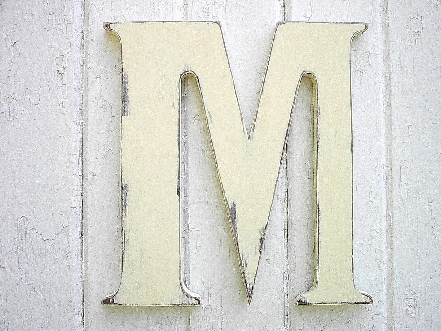 Nursery letter m wood antique white shabby chic by lettersofwood - Wood letter wall decor ...