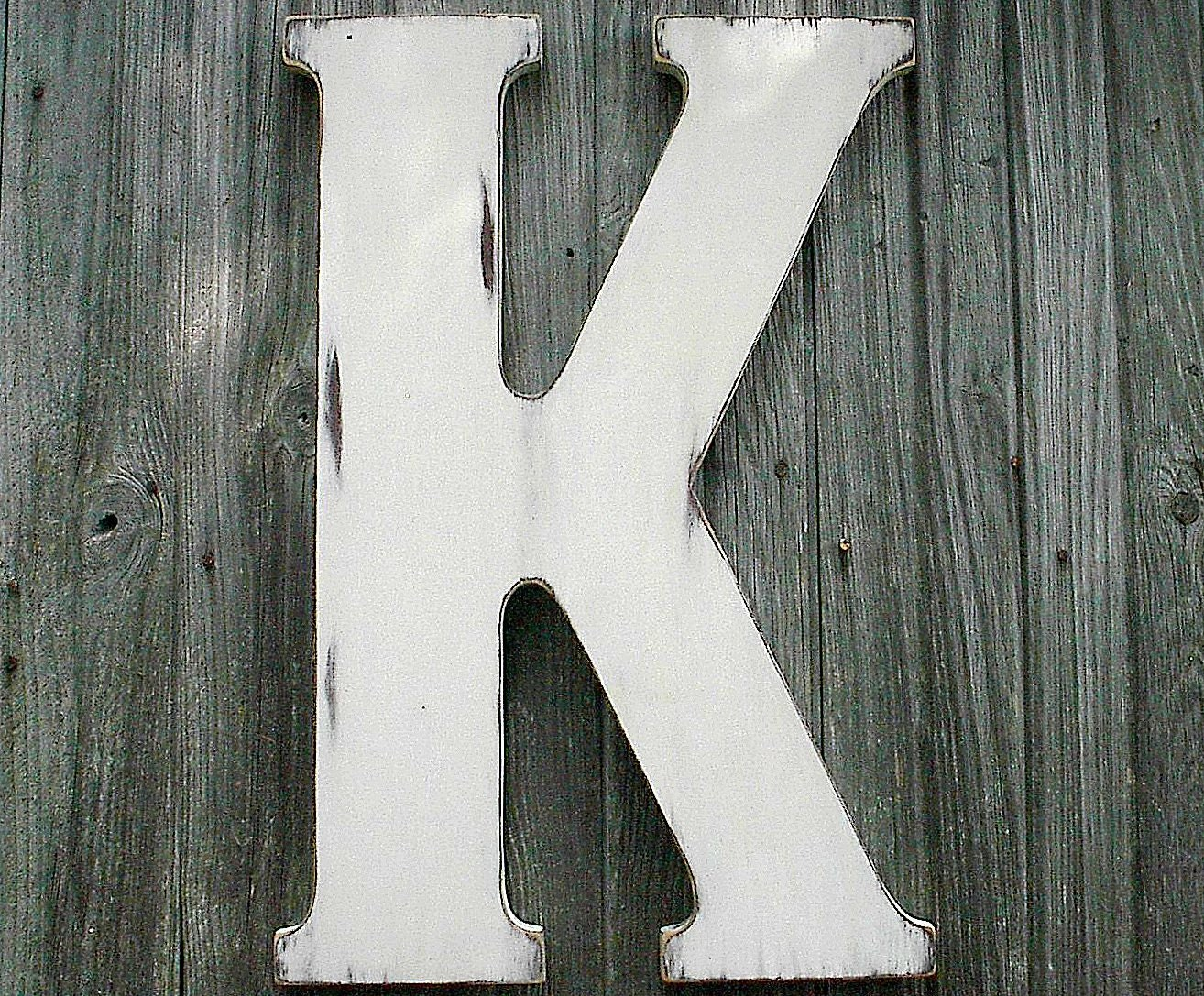 wooden letters wedding guestbook 24 large letter k white