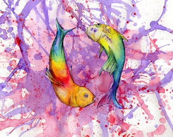 Rainbow koi art print pond fish for Rainbow koi fish