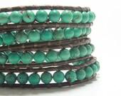 Wrap Bracelet Turquoise (color), Beaded Wrap Bracelet, Leather Jewelry