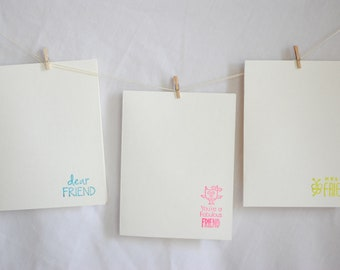 3 Friend Stamped Blank Card and Envelope Set
