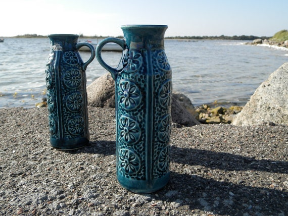 A Pair of  Queen Blue West German Mid Century Ceramic Vases Made by Bay  260-20