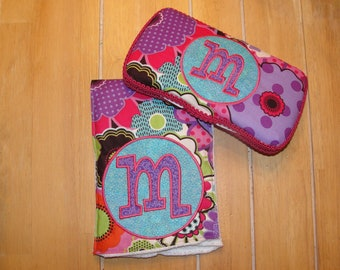 Matching Personalized Baby Wipe Case and Burp Cloth