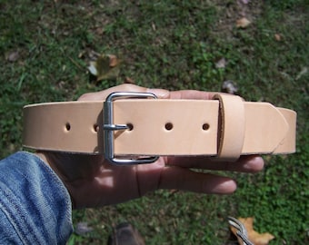 Full Grain Leather Belt - Custom Fit. Natural Leather Will Beautifully Darken With Time & Use. Made By Baytowne Leather.