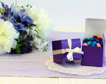 50x Purple Wedding Favor Cube Boxes-Bridal Shower-Baby Shower-Party Favor-Candy Gift Box-2x2x2