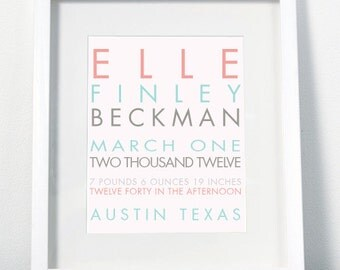 Modern Baby Name Print - Custom Personalized Nursery Wall Decor