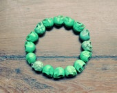 Green Howlite/Sugar Skull Beaded Bracelet