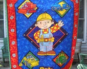 Bob the Builder  Crib Toddler Quilt Out of Print Fabrics and Rare Find Bob the Builder Birthday Party Boy Toddler Gift