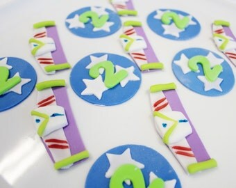 Toy Cupcake Toppers Toy Space Ranger and stars Cupcake toppers 12 qty