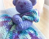 CUSTOM Crochet Baby Bear Blanket Lovey  Infant Blanket Bear  Crochet Baby Lovey MADE to ORDER