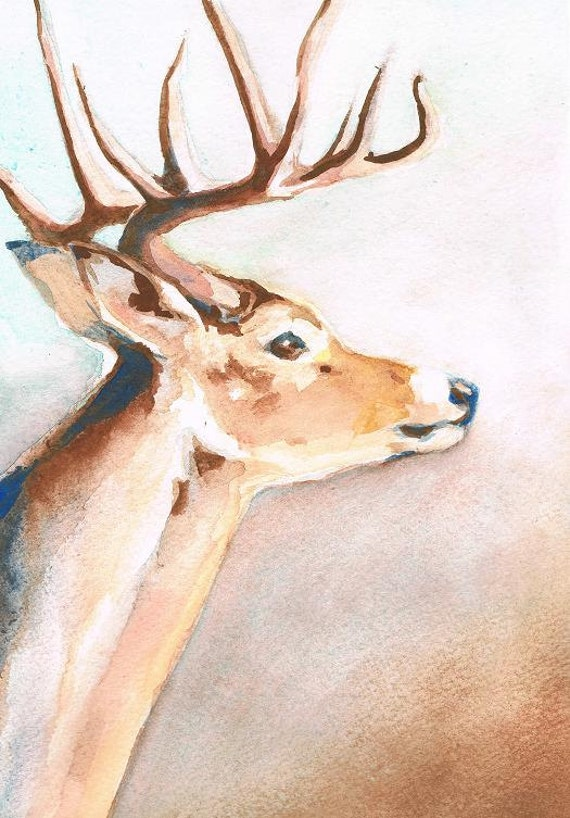Deer Portrait - Original Watercolor
