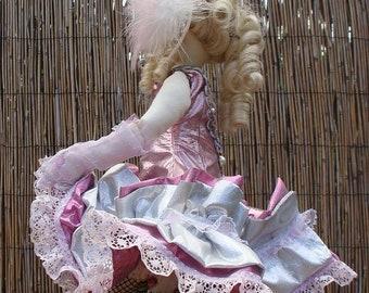 SOFT SCULPTURE Klondike Kate... an Art cloth, Gold Rush can-can  doll