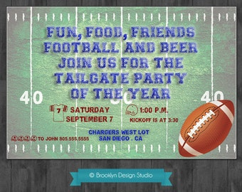 Football Party - Tailgate Party Custom invitation - Green,Blue and Red - Digital File