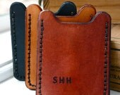 Flip Clip. Personalized Mens wallet. Leather money clip card case with initials
