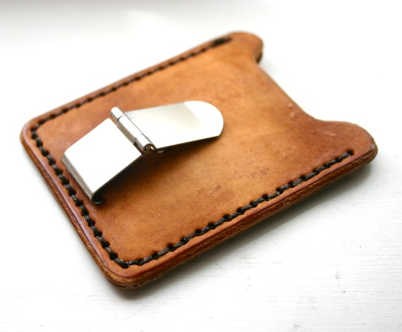 Mens light brown leather credit card wallet with money clip