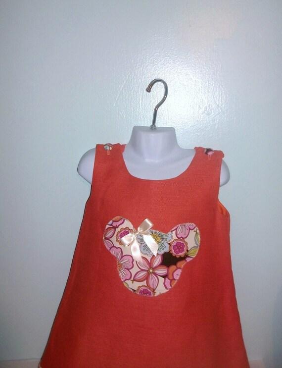 Winter fall autumn  Orange Handmade A-line linen blend dress, girls custom made dress Size 3T