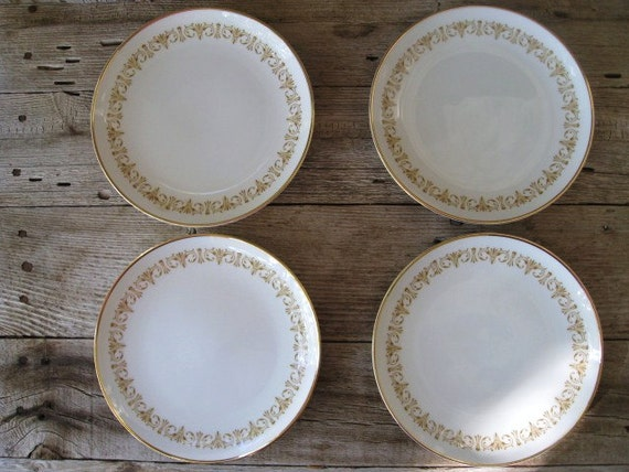 Vintage Bread and Butter Plates, Vintage China Plates, Gold Rimmed Plates, Sheffield Fine China Japan Imperial Gold Pattern, Set of 4