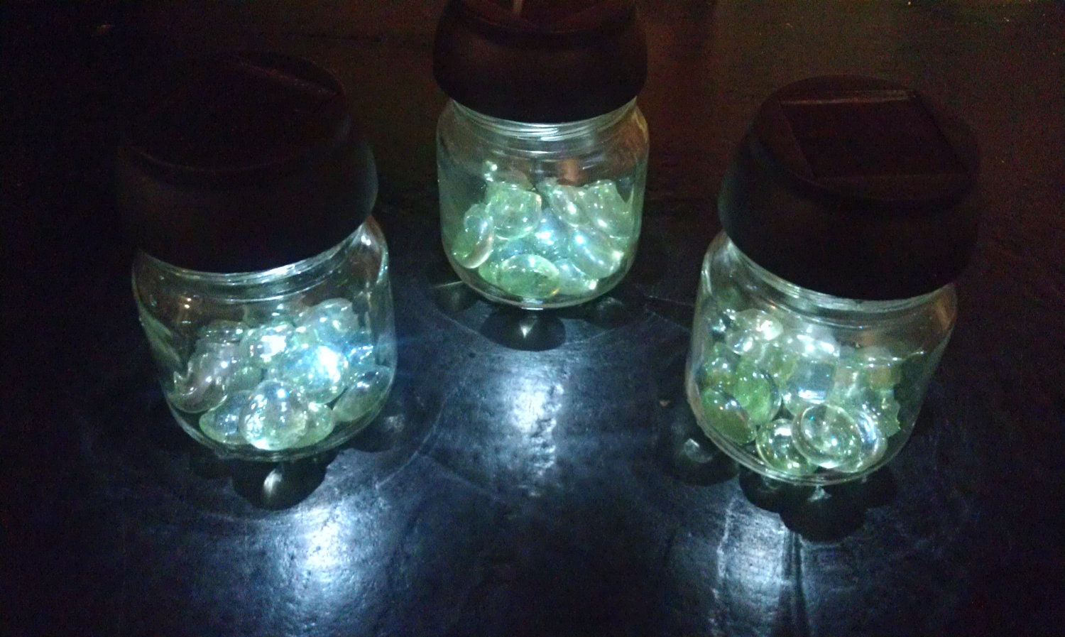 Set Of Three Mini Solar Garden Jar Lights