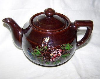 Brown Teapot Hadson Teapot Glossy Brown Teapot Vintage Brown Pottery Teapot