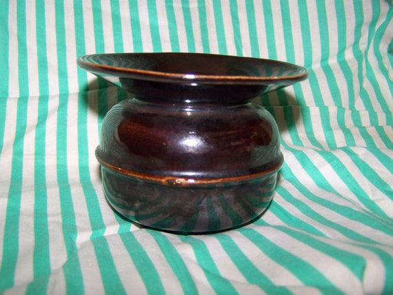 Brown Lustreware Spittoon Vintage