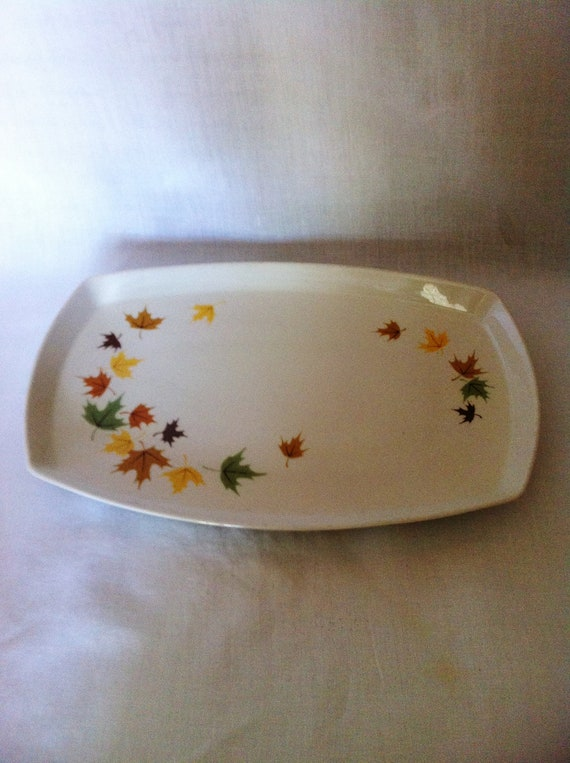 Franciscan pottery platter Indian Summer with fall leaves