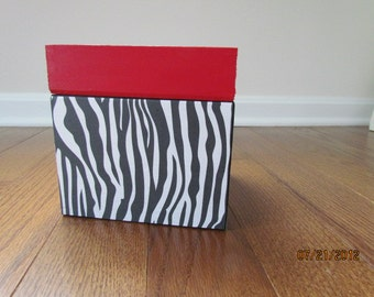 Zebra Box with Red Lid