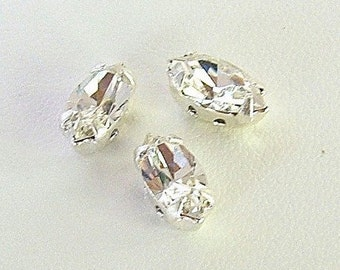 Clear Crystal, 10x5mm Swarovski Navette Sew On Rhinestones, Set of 3 -  Clear, 4200/2, 4 hole Silver Settings, Navette Rhinestones