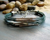 Teal and silver tone layered leather bracelet - boho chic surfer style