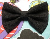 Black Lace Hair Bow with French Barrette Clip