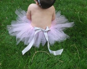 Pink and pearl girls tutu with a satin silver bow