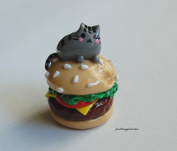 Pusheen Cat On a  Hamburger, Polymer Clay Miniature