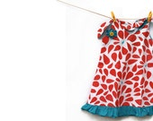 Summer Girls Dress Peacock Red and Blue - Last One - Size 2-3 years