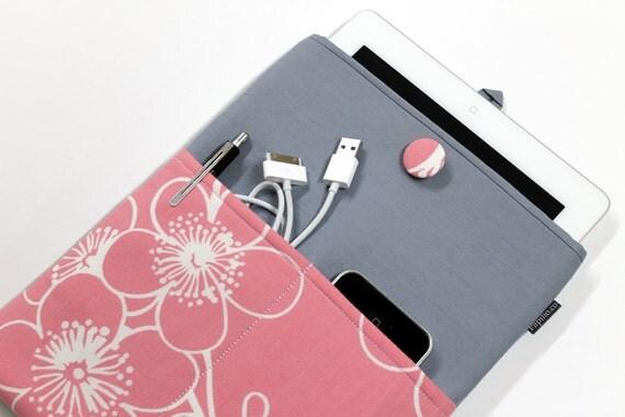 iPad Case, iPad Sleeve, iPad Cover Case, padded, pink and grey