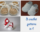 3 in 1. Booties crochet patterns collection (HK... 4, 5, 12)