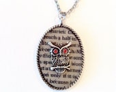 Owl necklace ruby eyes owl necklace Handmade Gift