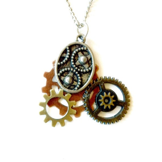 Steampunk Gears and Cogs necklace Steampunk mixed metal Mother's Day Gift Free US Shipping