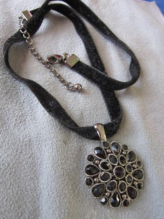 Vintage Black Glass Pendant &  Necklace Goth  Elegance