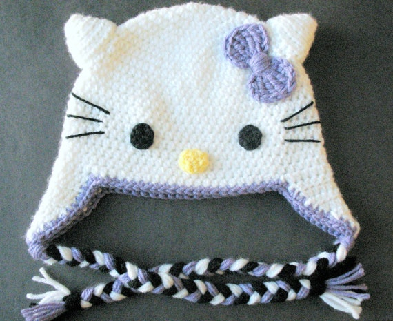 Hello Kitty Hat - Hand Crocheted Winter Hat - Pink/Purple/Classic Red/Custom Color