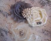 Vintage Inspired Ivory and Gray Wedding Garter, Bridal Garter, Toss Garter included