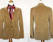 Women's Corduroy Jacket // Jones New York  // Fall Fashion // Vintage Tan Corduroy Blazer // Size Small S / M Medium