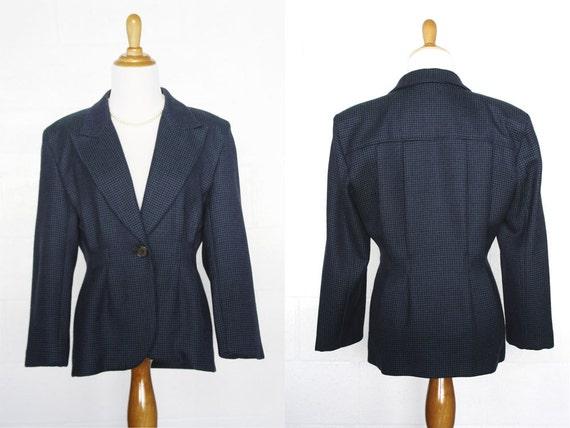 Vintage 1980s Perry Ellis Blazer // Blue Purple Black Tapered Wool Jacket // Size X-Small XS/S Small
