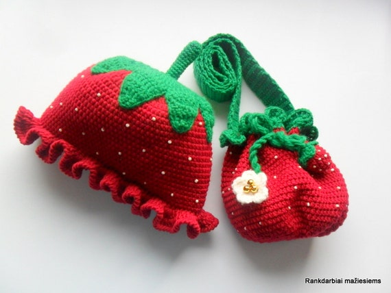 Strawberries hat and handbag, red-green set, autumn hat, strawberries set, a gift for girl