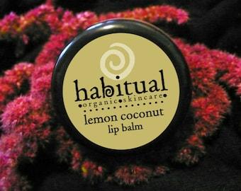 ORGANIC Lip Balm Pot - LEMON COCONUT - Handmade & 100% Natural / Chapstick with Lemon Essential Oils - Soothing Lip Balm Chemical Free