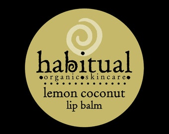 ORGANIC Lip Balm Pot - LEMON COCONUT - Handmade & 100% Natural / Chapstick - Awesome Eco conscious gift - Hand Poured Chemical Free Lips